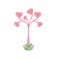 drawing tree leaves shape heart romantic vector image