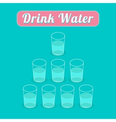 Drink 8 glasses of water Healthy lifestyle concept vector