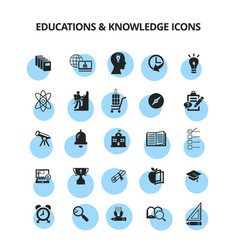 education and knowledge icons vector image