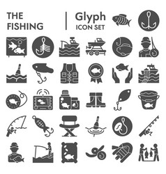 fishing glyph icon set fisher symbols collection vector image