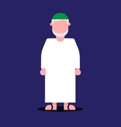 Flat arab muslim man with traditional cloth vector