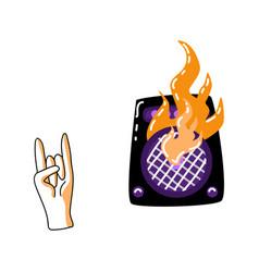 flat burning loudspeaker rock gesture icon vector image