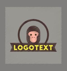Flat shading style icon monkey logo vector