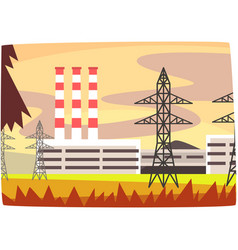 Fossil fuel power station energy producing plant vector