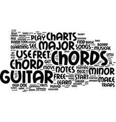 free guitar chord charts text background word vector image