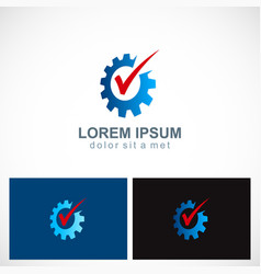 Gear work industry check mark logo vector
