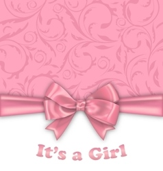 Girl bashower invitation card with pink bow vector