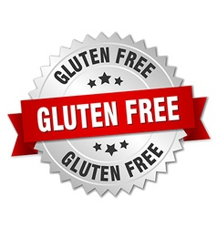 Gluten free 3d silver badge with red ribbon vector