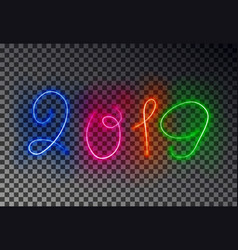happy 2019 new year light line glowing magic colo vector image