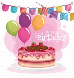 happy birthday cake celebration card vector image