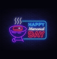 Happy greeting card for memorial day neon sign vector