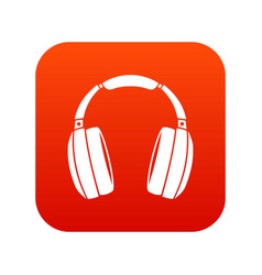 headphones icon digital red vector image