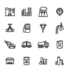 heavy industry signs black thin line icon set vector image