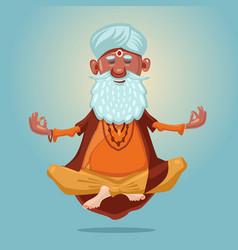 Indian guru yoga grandfather in asana vector