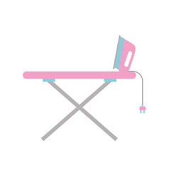 Ironing board with iron vector