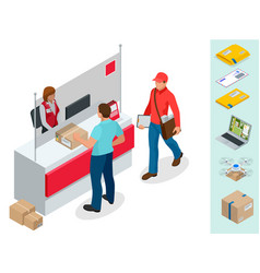 Isometric post office concept young man waiting vector
