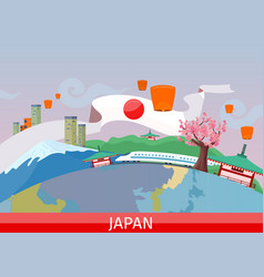japanese tourist attractions flat concept vector image
