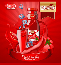 juice tomato ads with logo and label realistic vector image