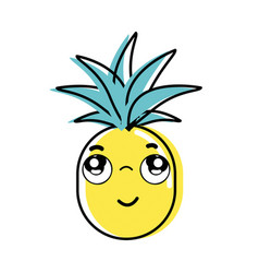 Kawaii cute thinking pineapple vegetable vector
