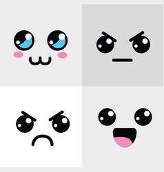 Kawaii happy and angry face icon vector