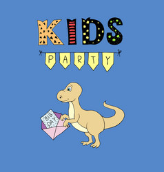 kids party lettering party with baby dino vector image