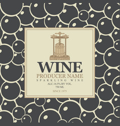 Labels for sparkling wine with backdrop grapes vector