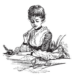 Letter writing or write a letter vintage engraving vector