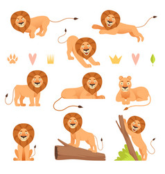 lion cartoon wild running yellow fur animal king vector image