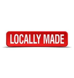 Locally made red 3d square button isolated on vector