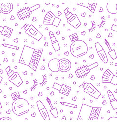 makeup beauty care purple seamless pattern with vector image