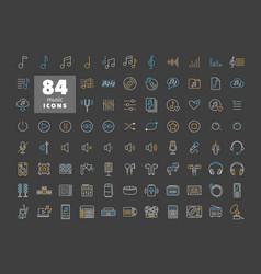Music flat icon set on dark background vector