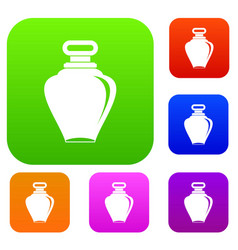 Parfume bottle set color collection vector