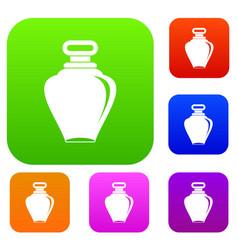 Parfume bottle set color collection vector