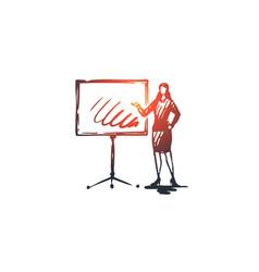 presentation woman board graphic job concept vector image