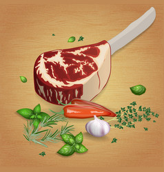 Prime rib with delicious sauces and spices vector