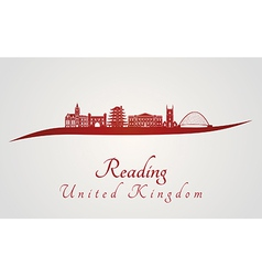 Reading skyline in red vector image