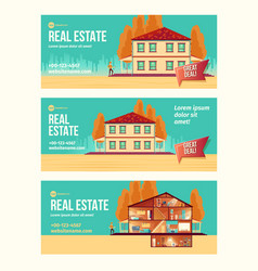 Real estate object cartoon ad banner vector