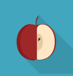 Red half apple icon in flat long shadow design vector