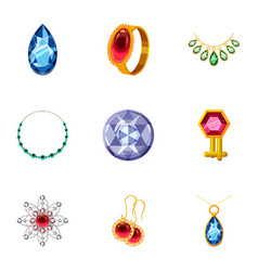 rich jewelry icons set cartoon style vector image