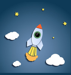 rocket flies against the sky vector image