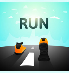 Runner athlete shoes on road jog workout wellness vector