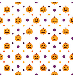 seamless halloween pattern withpumpkins vector image