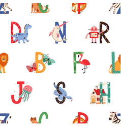 seamless pattern with colorful letters english vector image