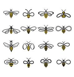 Set flat linear bees logos vector