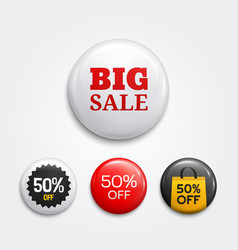 Set of glossy sale buttons or badges vector