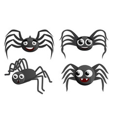 spider icon set cartoon style vector image