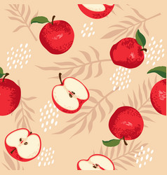 Summer pattern with apples flowers and leaves vector