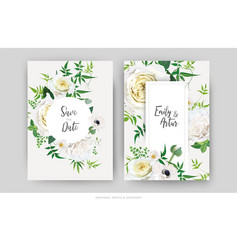 tender floral wedding invite save date card white vector image