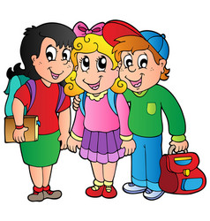 three happy school kids vector image