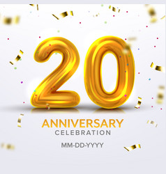 Twentieth anniversary celebration number vector